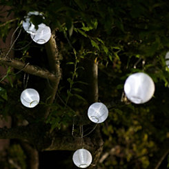 White Sphere Solar String Lights