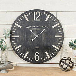 Black Western Telegraph Wood Wall Clock
