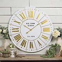 Elsie Metal White and Gold Wall Clock