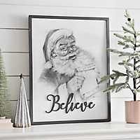 Gray Believe Santa Sketch Framed Art Print
