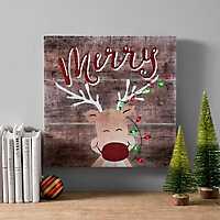 Pre-Lit Merry Reindeer Canvas Art Print