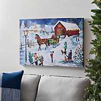 Pre-Lit Winter Sleigh Ride Canvas Art Print
