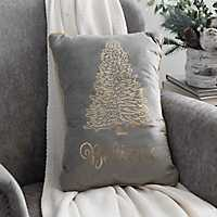 Gray Believe Christmas Tree Accent Pillow
