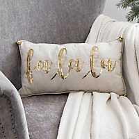 Fa La La Gold Sequin Christmas Pillow
