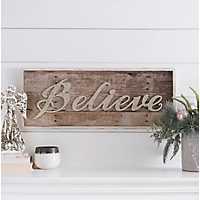 Gold Glitter Believe Wall Plaque