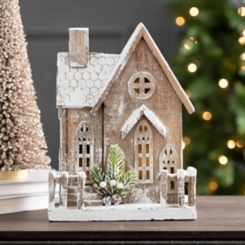 Wooden Christmas House LED Statue