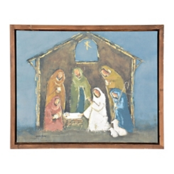 Blue and Gold Nativity Framed Art Print