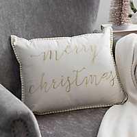 Gold Merry Christmas Velvet Accent Pillow