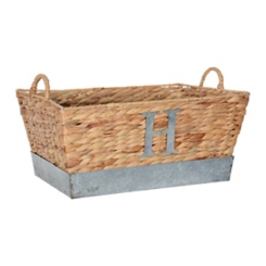 Woven and Galvanized Metal Monogram H Basket