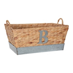 Woven and Galvanized Metal Monogram B Basket