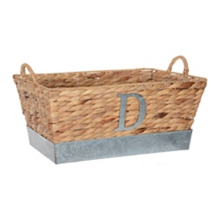 Woven and Galvanized Metal Monogram D Basket