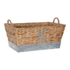 Woven and Galvanized Metal Monogram K Basket