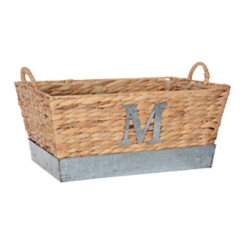 Woven and Galvanized Metal Monogram M Basket