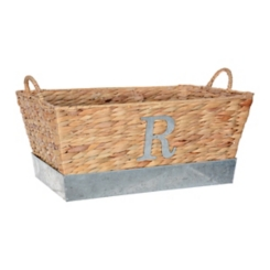 Woven and Galvanized Metal Monogram R Basket
