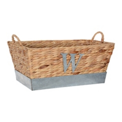 Woven and Galvanized Metal Monogram W Basket