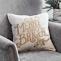 Gold Merry and Bright Christmas Pillow