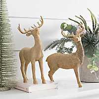 Gold Reindeer Statue, Set of 2
