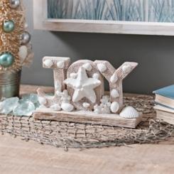 Coastal Joy with Shells Christmas Tabletop Sign