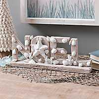 Coastal Noel with Shells Christmas Tabletop Sign