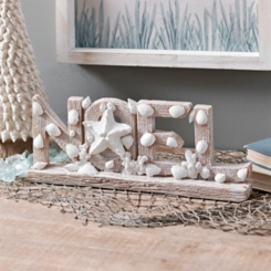 Coastal Noel with Shells Christmas Tabletop Sign