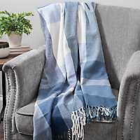 Blue Plaid Oversized Throw