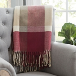 Red Plaid Oversized Throw