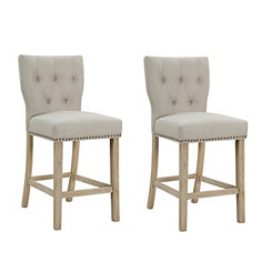 Tufted Linen Sand Curved Back Bar Stools, Set of 2