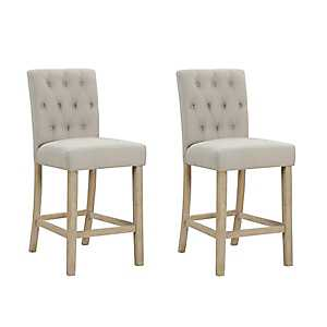 Tufted Linen Sand Counter Bar Stools, Set of 2