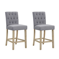 Tufted Linen Gray Counter Bar Stools, Set of 2