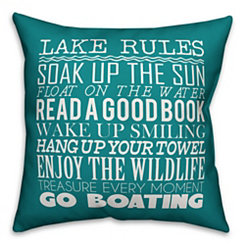 Turquoise Lake Rules Outdoor Pillow
