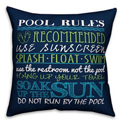 Navy Pool Rules Outdoor Pillow