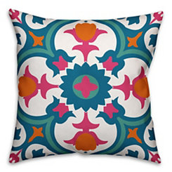 Blue and Pink Floral Tile Outdoor Pillow
