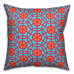 Teal and Pink Geometric Outdoor Pillow