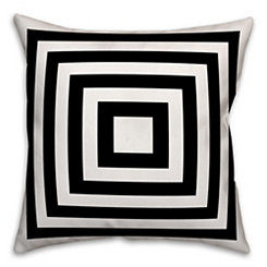 Black and White Geometric Stripes Outdoor Pillow
