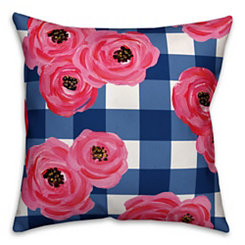 Pink Floral Buffalo Check Outdoor Pillow