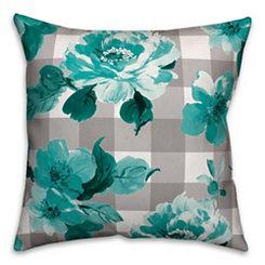 Teal Floral Buffalo Check Outdoor Pillow