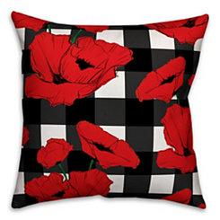 Red Floral Buffalo Check Outdoor Pillow