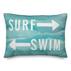 Blue Surf and Swim Outdoor Pillow