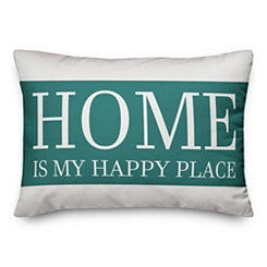 Home Is My Happy Place Outdoor Accent Pillow