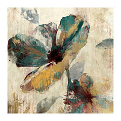 Abstract Brown & Aqua Floral Canvas Art Print