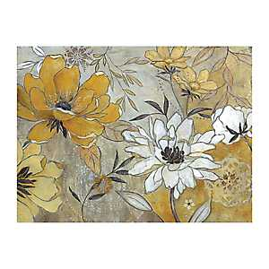 Yellow and Gray Floral Giclee Canvas Art Print