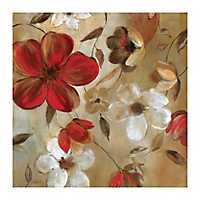 White & Red Floral Giclee Canvas Art Print
