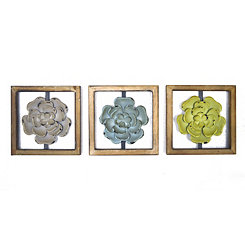 Metal Flowers Framed Wall Plaques, Set of 3