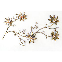 Floral Metal Leaves Wall Plaque