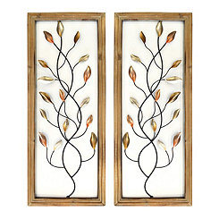 Framed Metal Leaves Wall Plaques, Set of 2