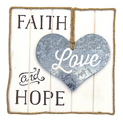 Faith, Love, Hope Wood and Metal Wall Plaque