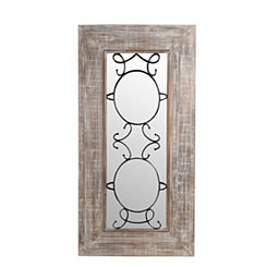 Wood and Iron Scroll Framed Mirror, 24x47.5 in.