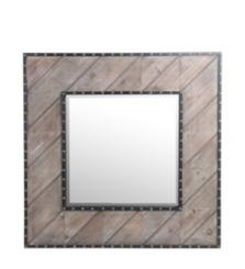 Wood Plank Nailhead Framed Mirror, 32x32 in.