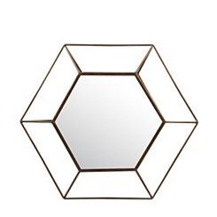Silver Iron Finish Geo Wall Mirror, 24x21 in.