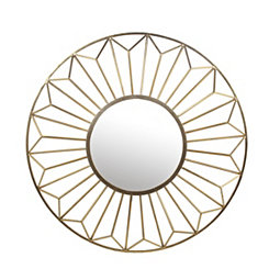 Gold Leaf Round Wall Mirror, 42 in.